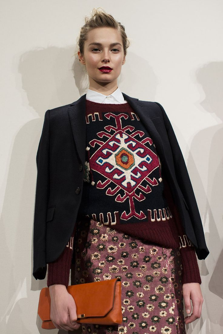 "the Sartorialist | more photographs of J Crew F/W '13 collection | this piece, heavy ""kilim-inspired"" embroidery on  knit, love it"