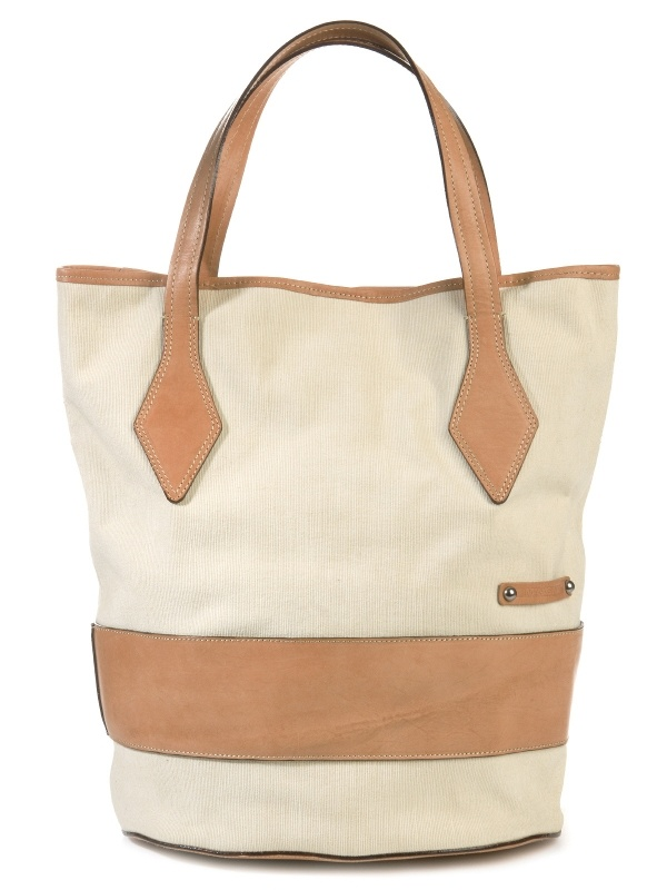 Taupe leather and canvas shopping bag