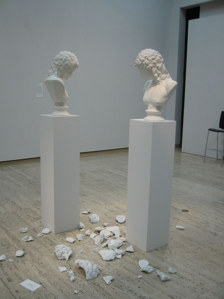Paolini, Giulio  Another theme investigated with particular interest in this period was that of the double and the copy, which found expression above all in the group of works entitled Mimesi (Mimesis, 1975–76) consisting of two plaster casts of the same classical statue set face to face, calling into question the concept of reproduction and representation itself.