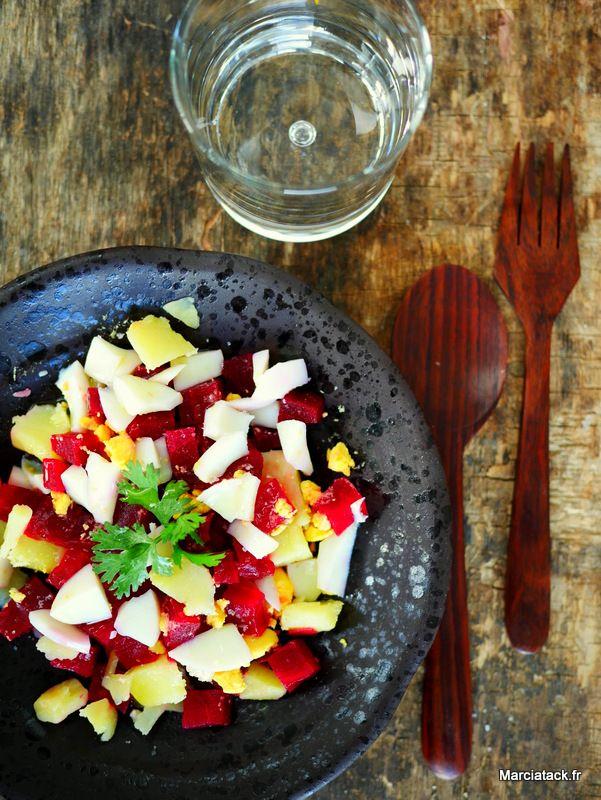 Salade de pommes de terre, betteraves et oeuf dur