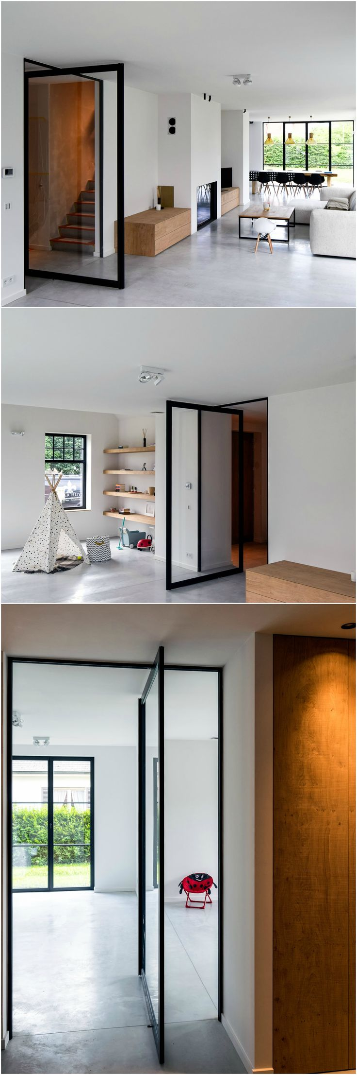 "Glass pivot door ""steel look"" design in a modern interior with Scandinavian design influences.  The pivot door is made from black anodized aluminium and transparent glass. The pivoting hinge is integrated in the black frame, without any built-in parts in either floor or ceiling. #pivotdoor #anywaydoors"