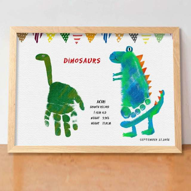 ver.恐竜 (額付 送料無料)実寸手形アート·メモリアルポスター バースデーポスター·ベビーポスター
