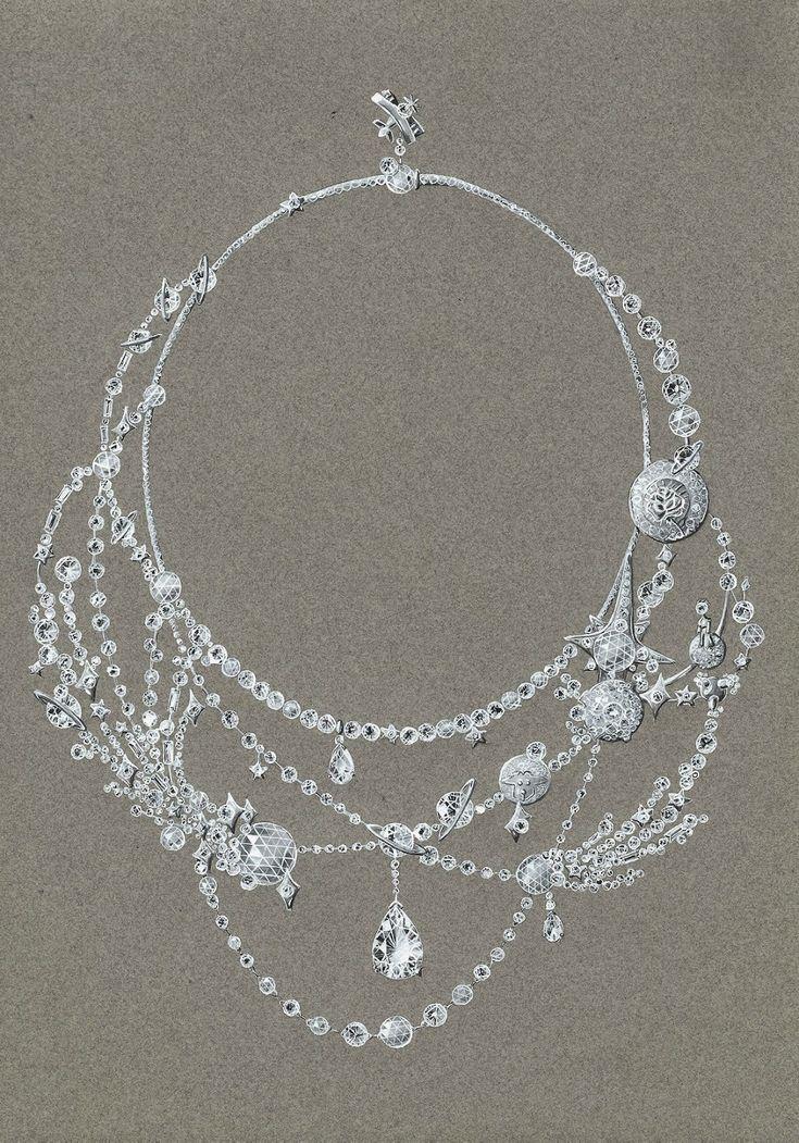 Tony FURION : Collier ' DESSINE MOI UN MOUTON ' (or blanc et diamants) dessin gouaché de joaillerie jewellery rendering
