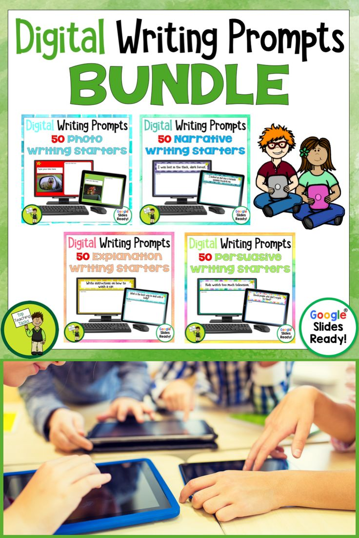 Go paperless with our Google Slides-ready writing prompts! Encourage independence with this easy to use writing activity bundlefeaturing 50 photo writing prompts. This Google Resource will have your students writing photos using Google Slides in no time! Writing Prompts Bundle for your digital classroom #writingprompts #digitalwriting #googledrive #explanationwriting #narrativewriting