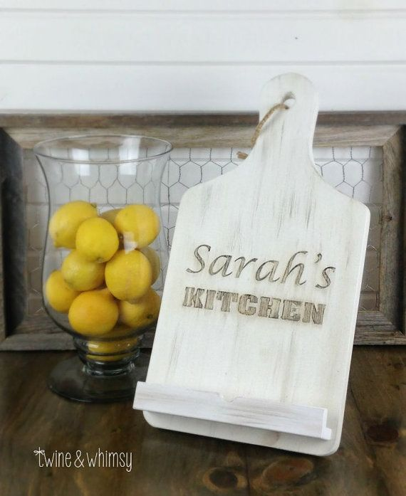 Engraved Rustic iPad tablet/cookbook stand by TwineandWhimsy