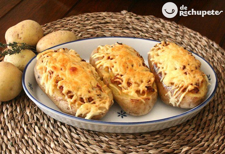 Patatas asadas rellenas de carne - Recetasderechupete.com http://www.recetasderechupete.com/patatas-asadas-rellenas-de-carne/12758/ #receta