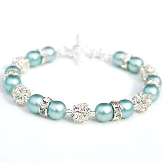 Aquamarine Pearl Rhinestone Bracelet, Bling Bracelet, Bridesmaid Jewelry