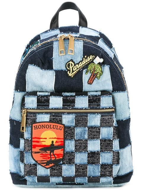 MARC JACOBS Biker Denim Patchwork Backpack. #marcjacobs #bags #polyester #leather #denim #metallic #backpacks #cotton #
