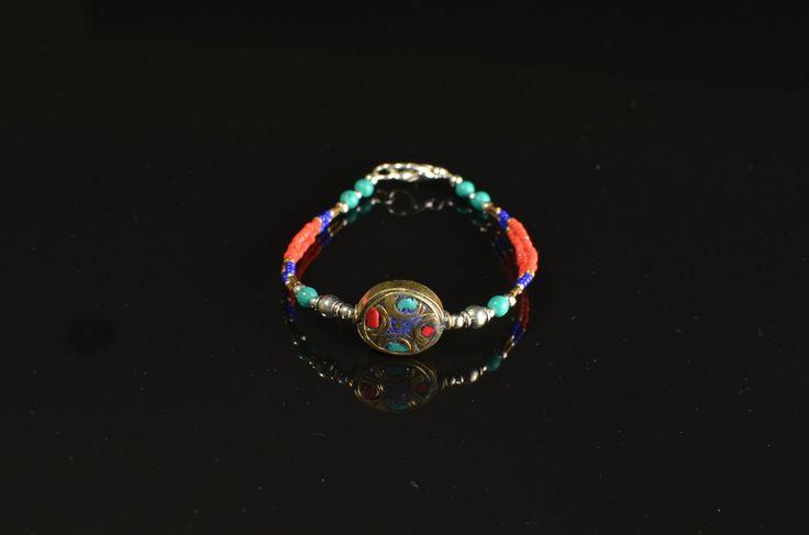 Beautiful Tibetan Copal Inlaid Bracelet