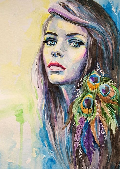 Peacock Girl watercolor painting print 8 x 12 Forest green, Fuchsia pink, Fluorescent yellow. $25.00, via Etsy.