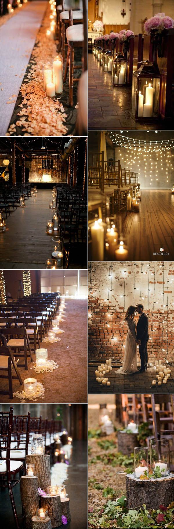 beautiful wedding ceremony aisle decoration ideas with candle lights                                                                                                                                                                                 More