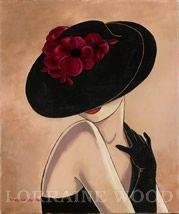 Sombreros, Lorena Dell Wood Glamour Sombrero Negro Con Borgoña Amapolas