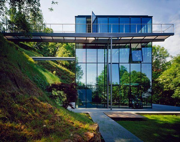 Off-the-grid green house with glass facade - Designed by German architecture firm, Werner Sobek