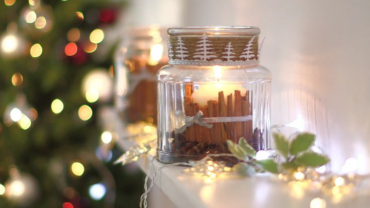 Preparing for the festive season? Add a cosy, rustic charm to your home with our scented Christmas candle, using sweet cinnamon and spicy star anise. It's ideal as a Christmas table centrepiece. Watch our video to find out how. | Tesco