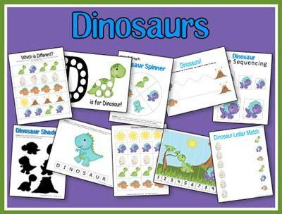 Free Dinosaur Preschool Printable Set! Download a free dinosaur preschool printable set from 2 Teaching Mommies.