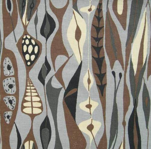 Stig Lindberg fabric vtg retro 40s 50s revival Scandinavian DIY cushion bulbous