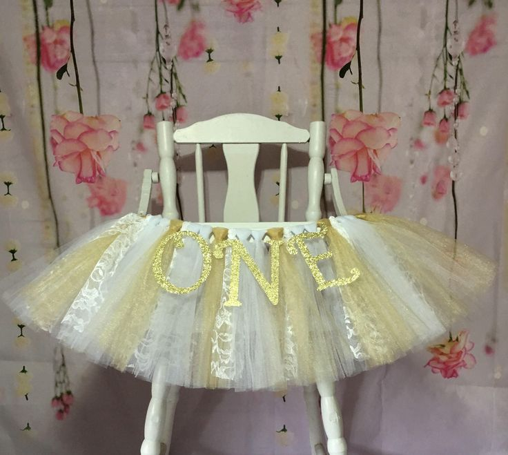 White and Gold High Chair Tutu- High Chair Skirt- Highchair tutu- Highchair skirt-White and Gold 1st Birthday- White and Gold HighChair Tutu by AvaryMaeInspirations on Etsy