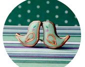 Stud earrings - Small green mint birds of polymer clay and copper wire with silver 925 studs