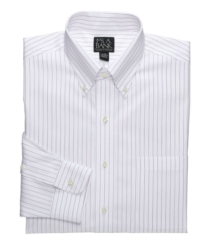 Check this out! Traveler Collection Tailored Fit Button-Down Collar Pinstripe Dress Shirt from JoS. A. Bank Clothiers. #JosABank