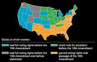 The orange on the map represents the women that gained their first rights from the 19th amendment .