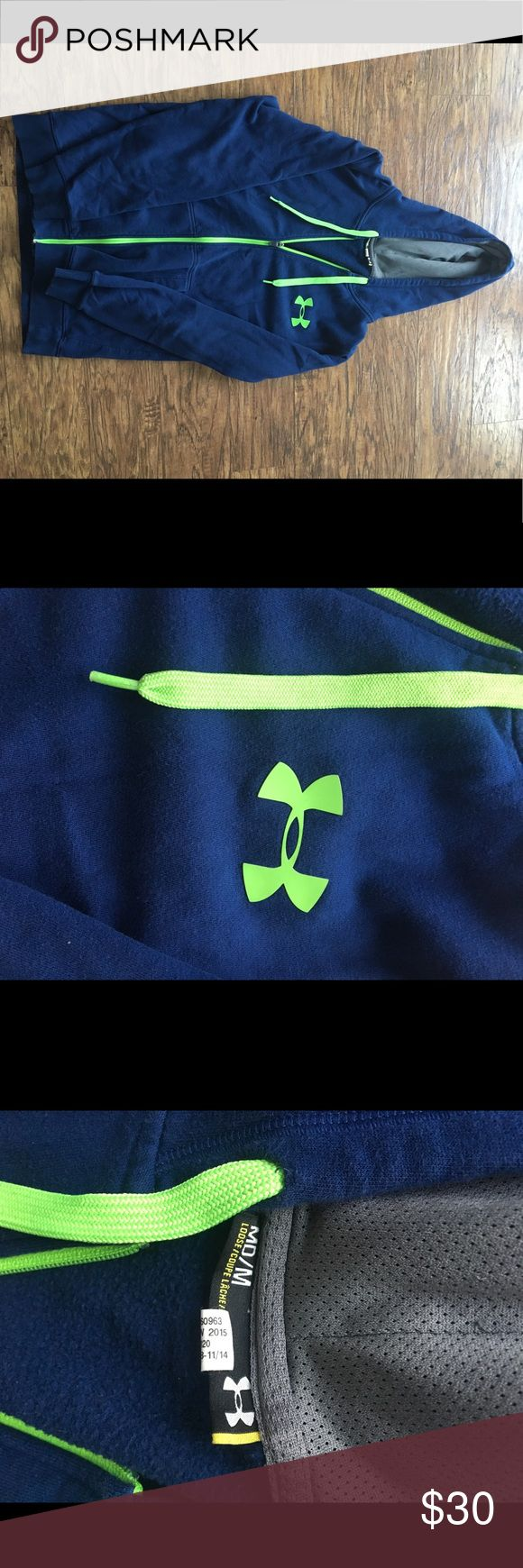 Men's Under Armour Zip Up Men's bright navy blue Under Armour zip up hoodie. Men's size medium. Bright green strings and logo. Super good quality. Good condition. Make offer!! Under Armour Shirts Sweatshirts & Hoodies