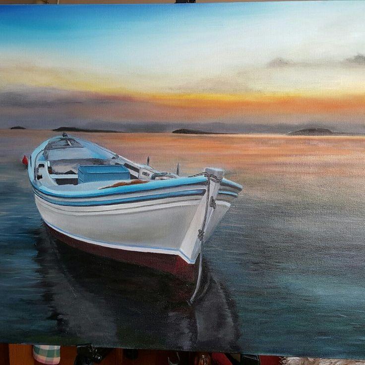 Boat at the sunset Oil on canvas artist by Özlem Erkorol