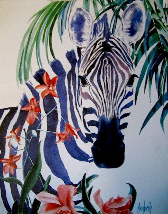Striped Zebra - Zebra Watercolor - Zebra Painting - 9x12 Watercolor Prints on Etsy, $10.00