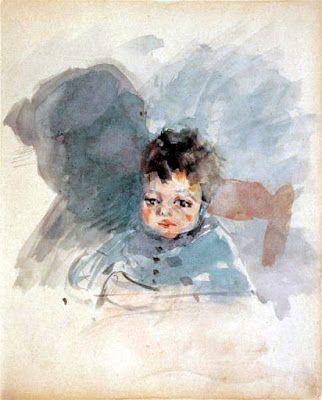 Περικλής Πανταζής, σχέδιο καθισμένου παιδιού. Ίδρυμα Λεβέντη.