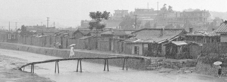 "Stephen Dreher  Korea, Mia-ri, Jul 1965  Monsoon season. ""Even the nameless stream is a thing of dread."""