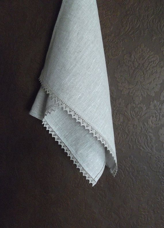 Stone Whashed Linen Towel with Lace