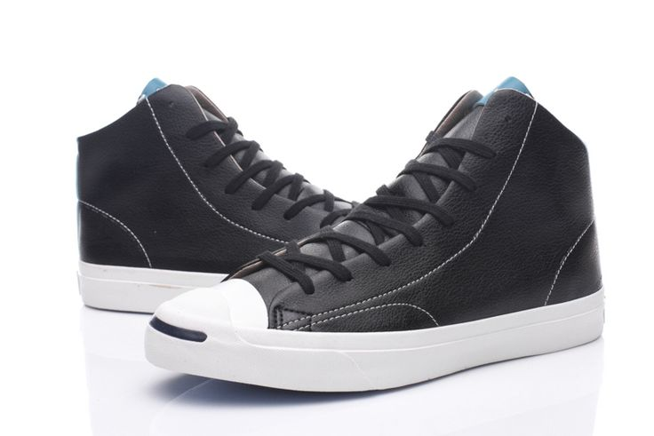 Converse Jack Purcell Leathers High Top Shoes-Black #converse #shoes