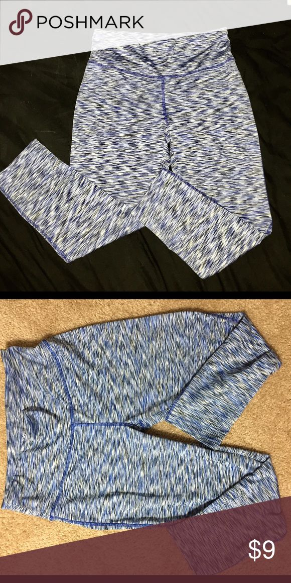 Workout gym leggings blue Marshalls brand- size M worn once. Mid-calf length, blue and black pattern, I love these!!! Spandex and polyester blend. Nike Pants Leggings