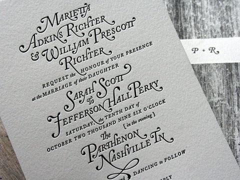 typographic wedding invite