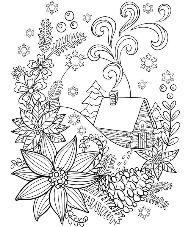 Cabin In The Snow on adult coloring pages #adultcoloring # ...