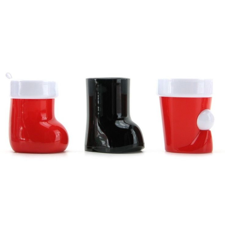Christmas Shot Glass 3 Piece Set Santa Hat Boot & Stocking Holiday Xmas Party
