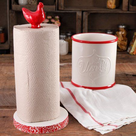 The Pioneer Woman Flea Market Stoneware Red Paper Towel Holder And Crock - Walmart.com