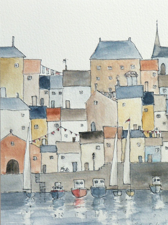 original watercolor painting of a harbor town by atelier28