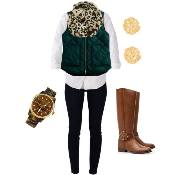 Green Puffer Vest And Leopard Scarf :)