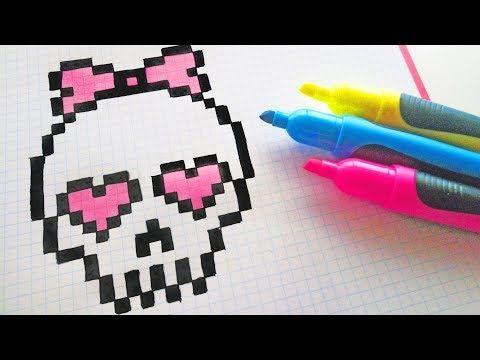 Handmade Pixel Art How To Draw Cute Skull Pixelart Halloween