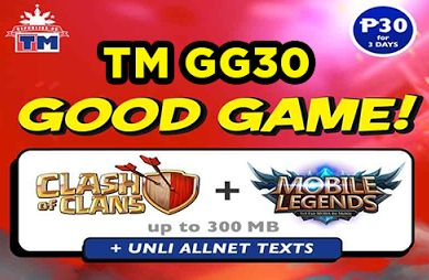 TM GG30 Promo is the latest TM Prepaid Promos. To all subscribers will experience much intense in mobile online gaming with 300MB internet data allowance with long validity 3 days access to the most latest android games including Clash of Clans (COC) and Mobile Legends (ML). And much more you can get an additional unli all-net textsso that you can easily communicate to your COC clanmates or your Mobile Legends 5V5-man team whatever network they have even they are Globe TM Smart TNT or Sun…