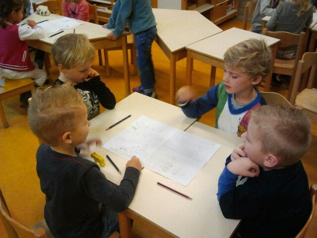 Tafelrondje. Op A3 in 4 vakken gevouwen tekenen over onderwerp. Daarna aan elkaar vertellen. Om de beurt.