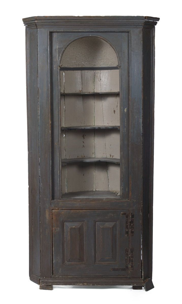 18th C Corner Cupboard In Black Paint Google Com