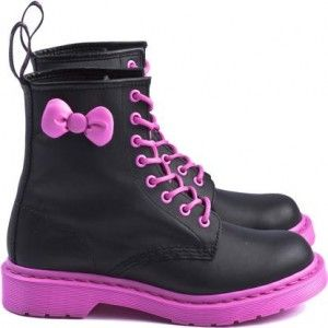 Dr Martens / SanrioPink Sole, Dr. Martens, Pink Doc Martens, Kitty Boots, Kitty Dr., Doc Martens For Girls, Kitty Doc, Hello Kitty, Black