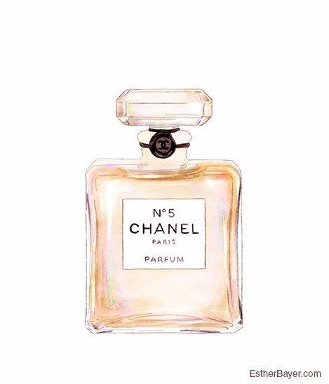 Chanel No.5 Perfume Bottle Colorful Fashion Illustration Fine Art Print