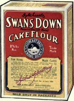 Old Swans Down Cake Flour Box.  I have a vintage round tube tin cake pan with this advertisement  printed on it.