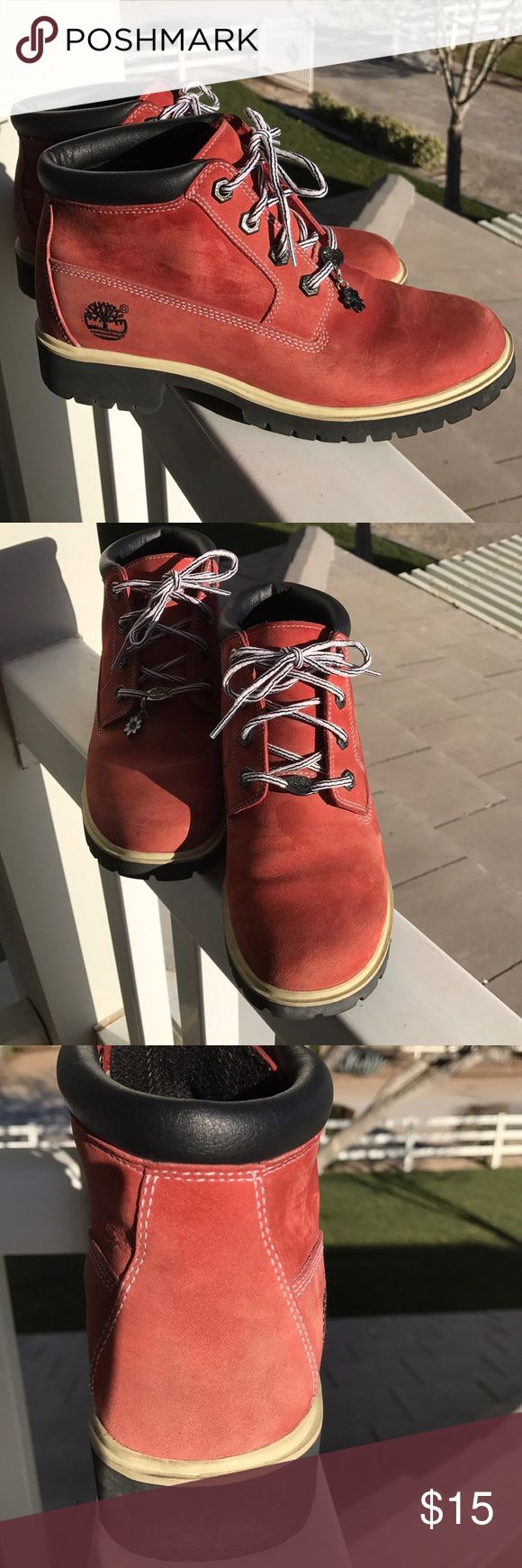 Ladies Timberland Boots 🌸 Super cute, comfortable, 💦 waterproof boots. 🌸 priced to move on out of the closet.  These are not really red, but not orange. Kind of a burnt orange. Timberland Shoes Ankle Boots & Booties