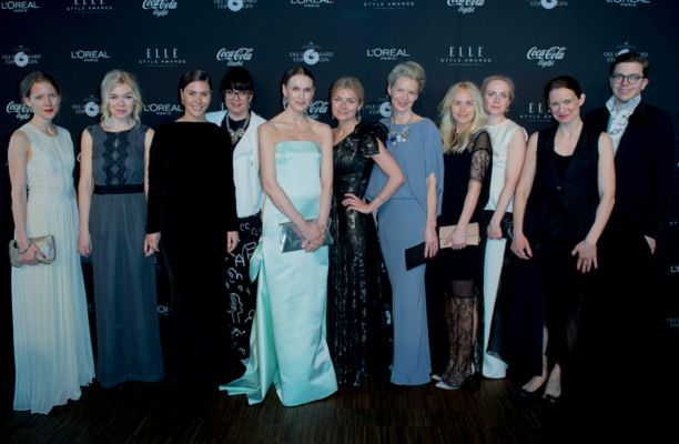 Elle's creative director Stine Tidselbak in AW13 dress (blue to the right) at ELLE Style Awards 2013.