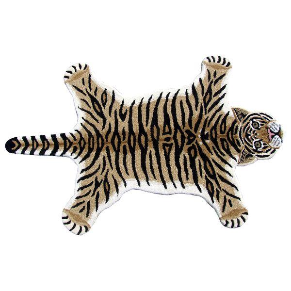 hand-tufted tiger skin shape wool rug (3' x 5')   john's bronx