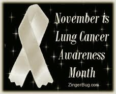 This month is Lung Cancer Awareness Month! This means a lot to me because my grandmother passed away due to Lung Cancer. So if everyone could show their support and try to eliminate the horrible stigma attached to this cancer. Anyone can get cancer it does not discriminate against anyone. SHOW SUPPORT<3