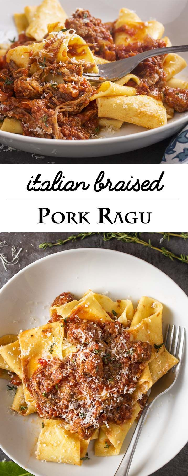 Italian comfort food of tomato, braised sausage, and pork shoulder ragu simmering on the stove is the perfect way to spend a chilly day. This pork ragu is easily doubled and freezes well. | http://justalittlebitofbacon.com